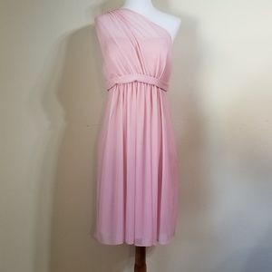 David's Bridal Short One Shoulder Dress Pink Sz 10